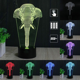 Wholesale Elephant Led - 3D Illusion Elephant LED Modern Night Light 7 Colors Change Touch Table Lamp Desk Light Kids Children Christmas Gift Home Office Decoration