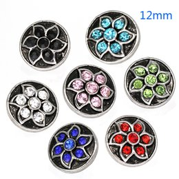 Wholesale Ring Mm Diamond - New Arrival Noosa 12 MM Snap Buttons Six Variety Lotus diamonds Fit Snap Bracelets Necklace Ring Ginger Snap Fashion Jewelry Accessories