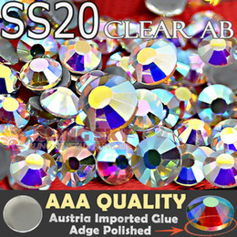 Wholesale Garment Bags Clear - Wholesale- Great Quality!AAA HotFix Rhinestones SS20 Clear AB Crystal 1440pcs Bag FlatBack strass glass stone for Trim DIY garment clothi