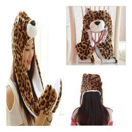 Wholesale Leopard Hat Gloves - Winter warm hat Children spend a leopard long autumn and winter Scarf, hat, gloves free postage