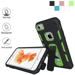 Wholesale Silicon Phone Stand - Anti-Skid armor hard Hybrid case for iphone 7 6 6s plus i7 i6 PC + silicon TPU stand Shockproof protector phone cases cover coque capa