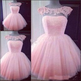 Wholesale Cute Maternity Pictures - Cute Pink Short Prom Homecoming Dresses 2018 Sheer Cap Sleeves Applique Puffy Tulle Ball Gown Party Cocktail Dress