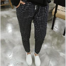Wholesale Ladies Plaid Pants - 2016 New Spring Casual Loose Cotton Harem Pants Plus Size Plaid Capris Grid Black Pockets Lady Trousers Spring Loose Harem Pants