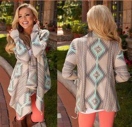 18b3a29b4 Discount sweater coat knitting patterns - Wholesale- Women Basic jackets  Coats 2016 Cardigan print irregular