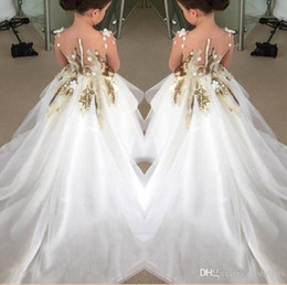 Wholesale Applique Designs For Wedding Dresses - 2016 New Design Flower Girls Dresses For Weddings Long Sleeves Gold Sequins Pageant Party Gowns First Communion Dress For Child Teens Custom