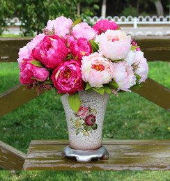 Wholesale Bouquets Peonies - peony Bouquet Artificial Peony Silk Flowers Fake Leaf Home and Wedding Party Decoration 7 peony flowers head 5colors choose