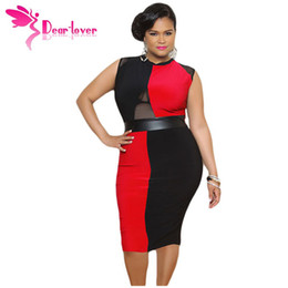 Wholesale Office Wear Xxl - Oversized XL XXL XXXL Women Clothes Plus Size Black and Red Sleeveless Midi Dress Summer Office Work Wear LC60941 17410