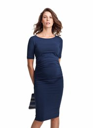 Wholesale 2xl Maternity Clothes - Valentine Gift Maternity Dresses S-3XL O-Neck Pregnancy Clothing Clothes for Pregnant Women Knee-Length Office Lady Business Dress