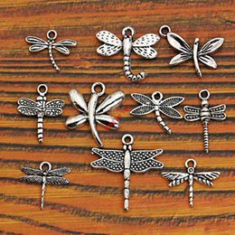 Wholesale Tibetan Bee - Wholesale- Mixed Tibetan Silver Plated Insect Dragonfly Bee Charms Pendants Jewelry Making Accessories Diy Jewelry Findings Zinc Alloy m004