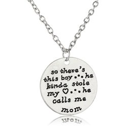 love hearts stamp Coupons - Pendant Necklace Silver Hand Stamped So There's This Boy He Kinda Stole My Heart He Calls Me Mom Mother's Day Gifts Love Son&Mom