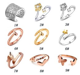 Wholesale Cheap Chinese Goods - 925 Silver Heart Shaped Ring Rose gold Ring Fashion Jewelry Inlaid Multi Heart Crystal Rings Cheap Chinese Goods Opened  besajvzasn