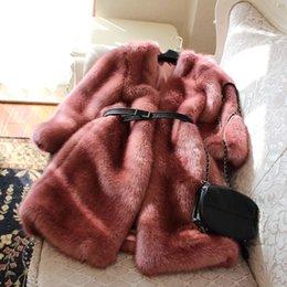 Wholesale Thin Fur Coat - Slim Long Thin Warm Pink Fur Coat N5