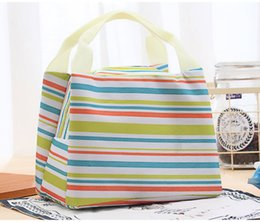 Wholesale Insulated Case - Hot new Canvas Stripe Picnic Lunch Drink Thermal Insulated Cooler Tote Bag 450ML Portable Carry Case Lunch Box 6 Colors 0001