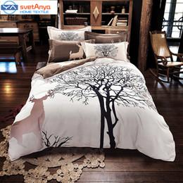 Wholesale Deer Bedding Queen - Wholesale-Svetanya Tree Deer print bedding set thick sanding cotton Bedlinen Queen King size winter Duvet cover set