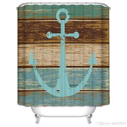 Wholesale Wholesale Shower Boards - Vintage Anchor bath curtain waterproof new hot sale fashion vintage wood board bathroom shower curtains