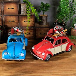 Wholesale Up Study - Car Model Decoration Red Color Creative Gift Vintage Die-Cast Pick Up Work Office Decor Toys Cool Antique Home Decoration Antique Ornaments