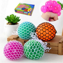 Wholesale Geek Gadgets - 5cm Novelty toys Vent Squeeze Squish Ball For Decompression Face Reliever Grape Rope Mesh Toys Funny Geek Gadgets Four Colors