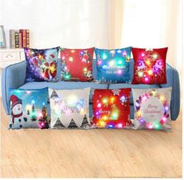 Wholesale Led Lighted Reindeer - Christmas LED Pillowcase Cushion Cover Night Light Home Christmas Decor 45*45cm Santa Claus Reindeer Pillow Case Sofa Décor KKA2422