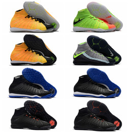 Wholesale Cream Ankle Boots - 2018 original football boots cheap mens soccer shoes indoor high ankle soccer cleats Hypervenom phantom 3 III neymar boots shoe futsal Grey