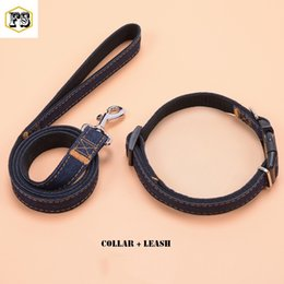 Wholesale Pet Sizes - Two-piece set pet supplies dog collars and dog leashes Nylon+Jeans material 3 colors 4 sizes wholesale free shipping