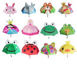 Wholesale Frog Wholesale - 15sx Lovely Cartoon Ear Umbrella Creative Long Handle Umbrellas 3D Modelling Sunny Rainy Bumbershoot Frog Rabbit Princess For Kids Gifts R