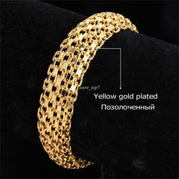 Wholesale Chunky Lobster Clasps - Gold Color Bracelet Chunky Big Hand Chain Fashion Men Jewelry Wholesale Hollow Bracelets & Bangles Homme H537