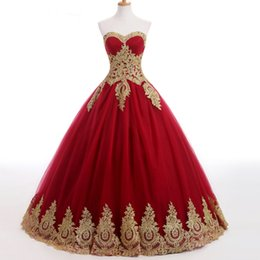 Wholesale Red Wedding Gowns Online - 2017 a-line wedding dresses online ball gowns red lace dress In Stock Wedding Dresses strapless sleeveless wedding floorlengh