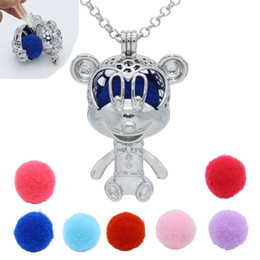 "Wholesale Mouse Pendants - Mouse Hollow Cage Locket Essential Oil Aromatherapy Diffuser Openable Pendant 30"" Chain Necklace + 7 Colors Pompons Charms Jewelry"