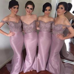 Argentina vestido madrinha fuera del hombro sirena vestidos de dama de honor apliques lentejuelas vestido largo fiesta vestido de satén vestidos formales cheap vestido madrinha mermaid dress Suministro