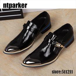 Wholesale Bridegroom Shoes - Brand Designer Metal Pointy Toe Dress Shoes Buckle Shinny Flat Bridegroom Wedding Shoes Men Black Soft Leather Black!