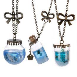 Wholesale Glass Vial Necklace Pendants - Wholesale-Newe Fashion Sea Ocean Glass Bottle Pendant Mermaid Tears Shells Star Vial Necklace