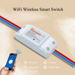 Wholesale Remote Control Switch Module - Wholesale-ITEAD Sonoff Wifi Wireless Remote Control DIY Smart Switch RF433 Universal Module Timer Switch Socket For MQTT COAP Smart Home