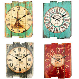 Wholesale Rustic Antique Decor - Wholesale-Overvalue! Retro Vintage Rustic Wall Clock Shabby Chic Home Office Coffeeshop Bar Decor Decoration Best Gift Craft 4 Stylish