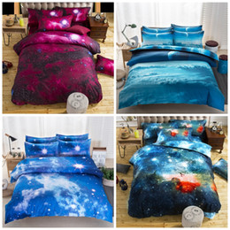 Wholesale cover duvet cartoons - Hot 3D Starry Sky Four Pieces Sets Kits Nebula Duvet Covers Pillowslip Soft Pillow Cases Cushion Cover Printing Bed Sack Comfortable 65xq