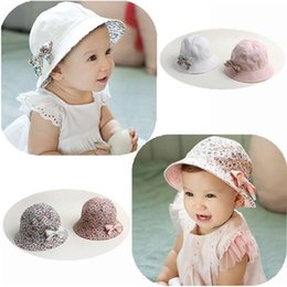 Wholesale Infant Outdoor Hats - Baby Girls Infant Floral Bowknot Hats Sweet Childreen Outdoor Two-side Use Cap Summer Beach Hat 4M-2Y Girls