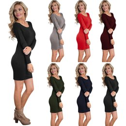 Wholesale Sunscreen Pencil - 2017 New fashion High quality solid cotton long sleeves sunscreen sexy S-XL Colored dress free shipping
