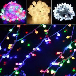 Wholesale Blue Led Bulb Wire - Wholesale- Outdoor lighting 10m 70leds 110v 220v LED Ball string lamp Transparent wire Christmas Light fairy wedding garden pendant bulb