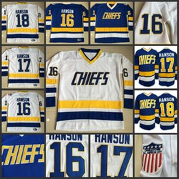 Wholesale Blue Red Movies - Hanson Brothers Charlestown Hockey Jerseys #16 Jack #17 Steve #18 Jeff SlapShot Movie Jerseys Stitched Top Quality Jersey