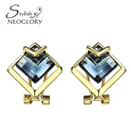 Wholesale Vintage Charm Clip Earrings - Gold Plated Blue Rhinestone Clip Cuff Earrings For Neoglory Women Vintage Gifts Fashion Statement Jewelry 2017 New