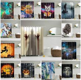 Wholesale Cat Stocks - Halloween Shower Curtain Pumpkin Waterproof Polyester Fabric Curtain Pumpkin cat elephant Moon Shower Curtain 165*180cm LJJK773