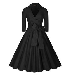 Wholesale Girl S Night - Womens Deep-V Neck Half Sleeve Bow Belt Vintage Classical Casual Swing Dress Free Shipping Dropship DK9016CL