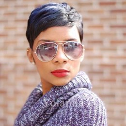 Wholesale Indian Ladies Hair Wigs - New Human Hair Wig Short Pixie Cut Wig Ladies Black Short Cut Wigs For Black Women African Hair Cut Style Hot Sale
