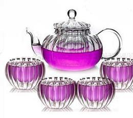 Wholesale Double Walled Glass Teapots - 5PCS SET High temperature resistant Glass pumkin Teapot 600ml+4 Double Wall Glass Tea Cups 50ml, Top Grade Gift J1052