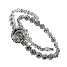 Wholesale Cherry Quartz - Stainless Steel Band Watch Cherry Ruby Sterling Silver Wristwatch Bracelets White Cubic Zirconia Beautiful Flower Round Shape 7 INCH