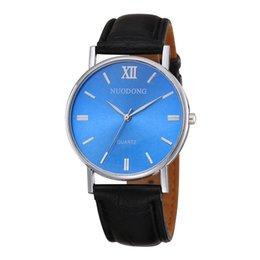 Wholesale Leather Glasses Cases For Men - wholesale unisex men women roma blue face dial leather watch fashion mens 2017 new design silver case quartz watches for men