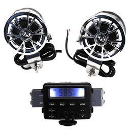 Accesorios para altavoces online-LED Radio FM para motocicleta / Mp3 Altavoz Reproductor de audio Estéreo + 2 Altavoces Accesorios de motocicleta a prueba de agua