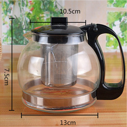 Wholesale Glass Pot Cup - Office teapot cup set Kung Fu tea sets Heat-resistant glass flower teapot Stainless steel soaking filter coffee pot creative Drinkware