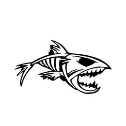 Wholesale Vinyl Bumpers - Hot Sale Mouth Skeleton Tribal Fish Vinyl Decal Kayak Fishing Truck Boat Car Styling Stickers Car Window Bumper Jdm