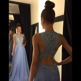 Wholesale Long Beaded Chiffon Prom Dress - 2017 Cheap Lavender A Line Prom Dresses Lace Applique Beads Crew Neck Long Bridesmaid Dresses Chiffon Formal Evening Party Gowns