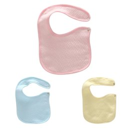 Wholesale Solid Color Baby Bibs - Wholesale- Cotton Baby Bibs with Buttons Solid Color Kids Baberos Bib Blue Pink Yellow 19*14.5 cm 1 PC